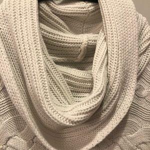 White Short Sleeved Cowl Neck Sweater